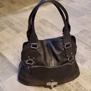 B. MAKOWSKY Black Pebbled Leather Hobo Bag